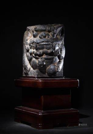 CHINESE STONE BOULDER CARVED FOOLION