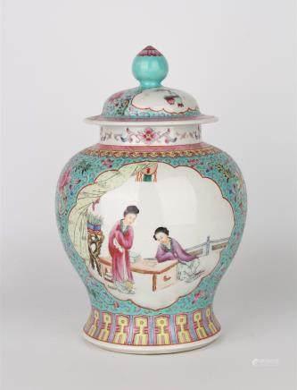 CHINESE FAMILLE ROSE FIGURAL PORCELAIN GINGER JAR