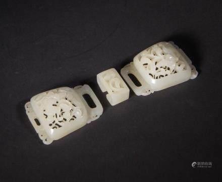 CHINESE WHITE JADE BELT BUCKLE