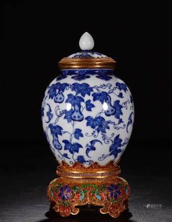 CHINESE BLUE WHITE PORCELAIN JAR, GILT METAL WIRIN