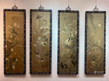 CHINESE SILK EMBROIDERY 4 SCREEN WALL PANELS