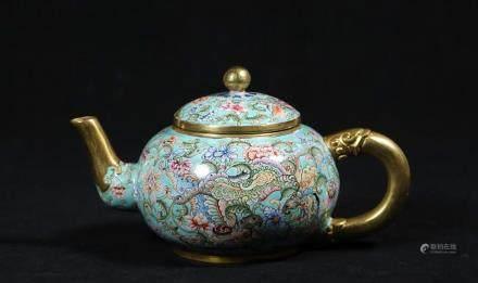 CHINESE BRONZE ENAMEL TEA POT W. MARK