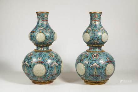 CHINESE CLOISONNE GOURD VASES WHITE JADE PLAQUES,