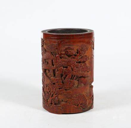 CHINESE BAMBOO CARVED LANDSCAPE BRUSH POT