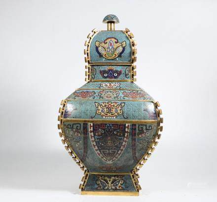 CHINESE CLOISONNE ARCHAIC STYLE COVER ZUN VESSEL