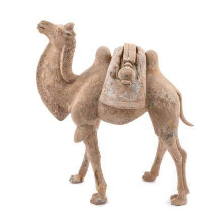 A Pottery Figure of a Bactrian Camel Height 17 1/2 in., 44 c