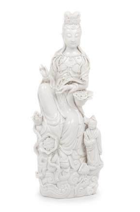 A Blanc-de-Chine Porcelain Figure of Guanyin Height 12 1/2 i
