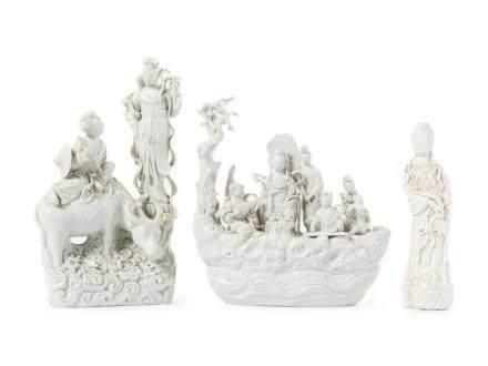Three Blanc-de-Chine Porcelain Figural Groups Tallest: Heigh