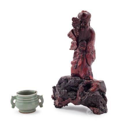 A Small Celadon Glazed Porcelain Incense Burner Figure: heig