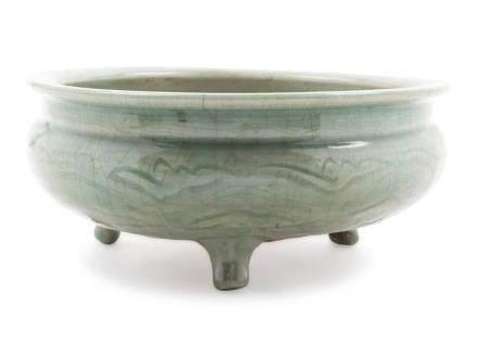 A Large Longquan Celadon Glazed Porcelain Tripod Incense Bur