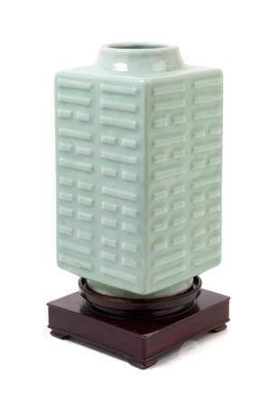 A Celadon Glazed Porcelain Cong Vase Height 10 3/4 in., 27 c