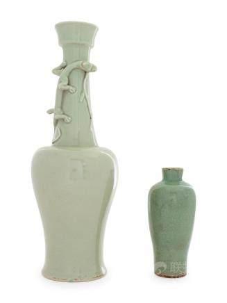 Two Monochrome Glazed Porcelain Vases Taller: height 15 in.,
