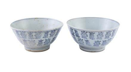 A PAIR OF CHINESE PROVINCIAL BLUE AND WHITE BOWLS, each of tapering circular form, the exterior