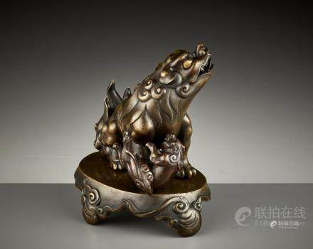 A SILVER- AND GOLD-INLAID BRONZE CENSER, KANGXI