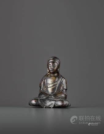 A SMALL BRONZE OF GUANYIN, LIAO DYNASTY