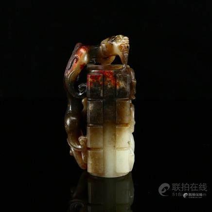 Superb Vintage Chinese Hetian Jade Chi Dragon Statue