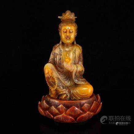 Vintage Superb Chinese Shoushan Stone Tianhuang Stone Kwan-y