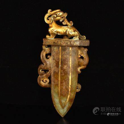 Vintage Chinese Gilt Gold Hetian Jade Chi Dragon Dagger Stat