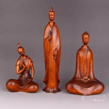 Vintage Chinese Boxwood Wood Carved Buddha Statues