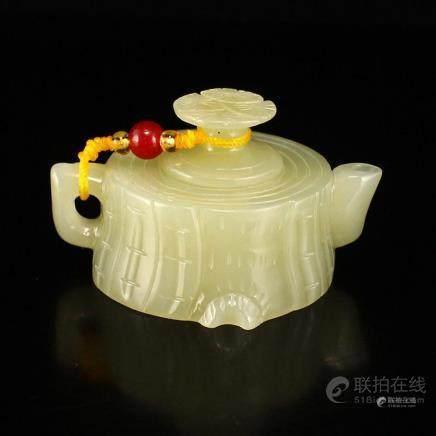 Chinese Natural Hetian Jade Small Teapot w Certificate