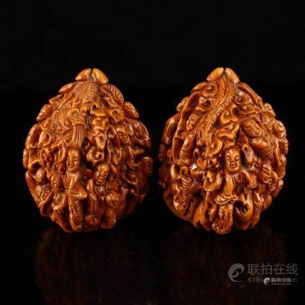 A Pair Hand Carved Chinese Art Walnuts Gymnastic Balls w Bud