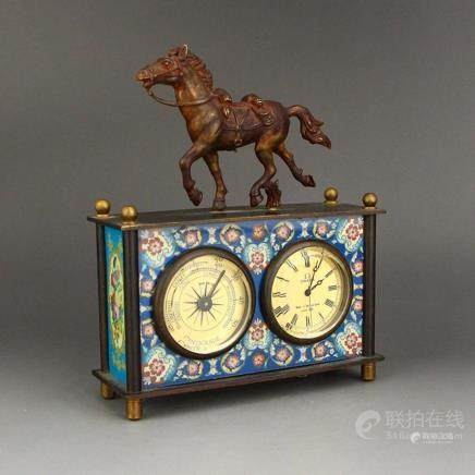 Vintage Bronze Mechanical Watch w Horse