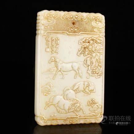 Vintage Chinese Hetian Jade Pendant - Horses w Certificate
