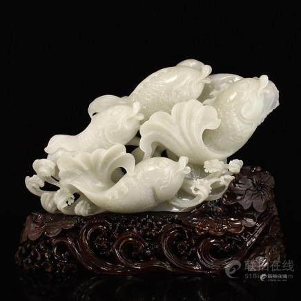 Superb Chinese White Hetian Jade Statue - Fortune Fish