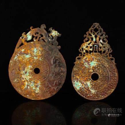 A Pair Vintage Openwork Chinese Hetian Jade Dragon Phoenix B