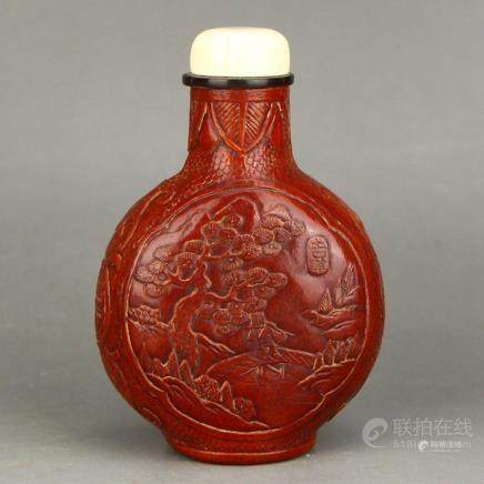 Chinese Qing Dy Low Relief Gourd Snuff Bottle W Qian Long Ma