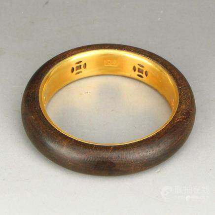 Inside Diameter 58 MM Chinese Qing Dynasty Gilt Gold Chenxia