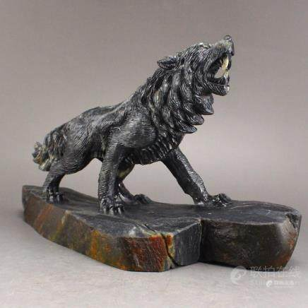 Hand Carved Chinese Hetian Jade Statue - Wolf w Certificate