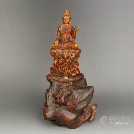 Vintage Chinese Gilt Gold Boxwood & Chenxiang Wood Kwan-yin