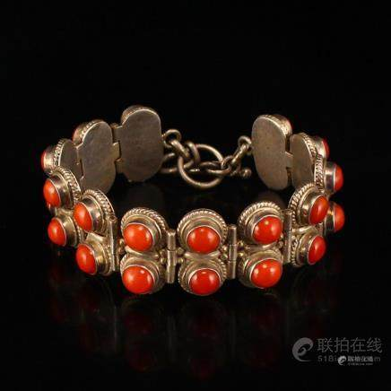 Chinese Sterling Silver Inlay Superb Red Coral Bracelet