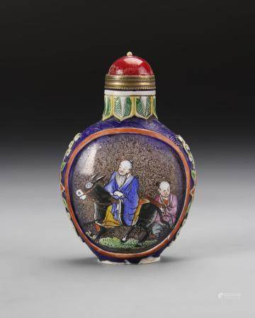 Chinese Enameled Overlay Glass Snuff Bottle