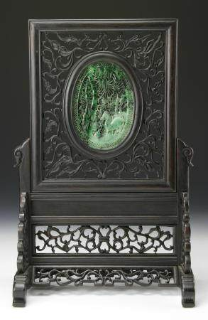 Chinese Jade and Wood Screen