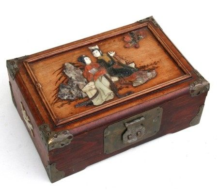 A Chinese brass mounted wooden jewellery box, the top with inset hardstone depicting two robed