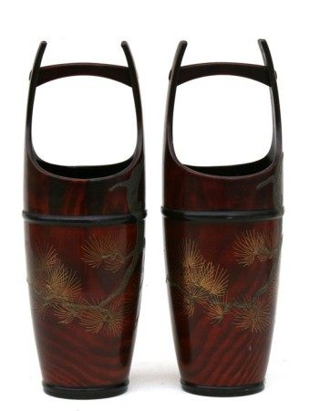 A pair of Japanese lacquer vases in the form of buckets, 28cms (11ins) high.