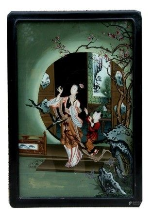 A Japanese reverse painted painting depicting a robed woman and child, framed & glazed, 30 by