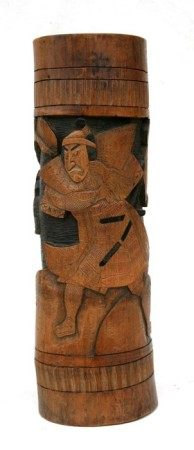 A Japanese bamboo brush pot carved with a Samurai warrior. 39cm (15.5 ins) high