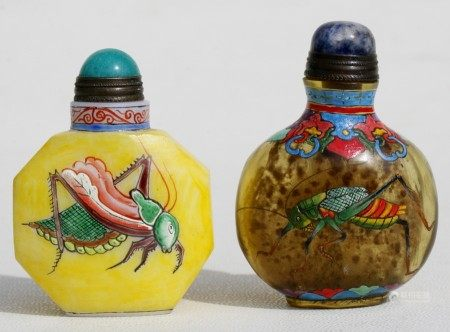 Two Chinese overpainted glass snuff bottles, each decorated with crickets, 6cms (2.25ins) high.