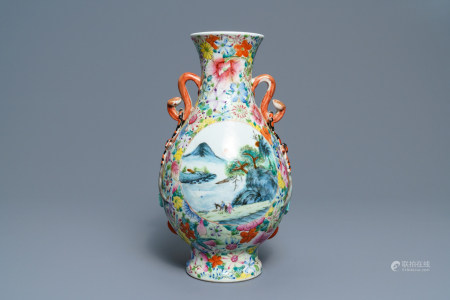 A Chinese famille rose 'millefleurs' landscape vase, Qianlong mark, Republic, 20th C.