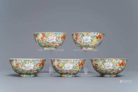 Five Chinese famille rose 'millefleurs' bowls, Qianlong mark, Republic, 20th C.