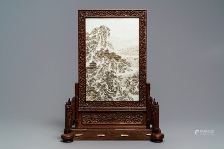 A fine Chinese grisaille 'winter landscape' plaque in a wooden table screen, Republic, 20th C.