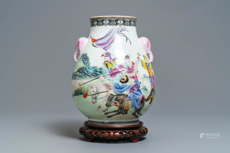 A Chinese famille rose hu vase with warriors on horseback, Qianlong mark, Republic, 20th C.