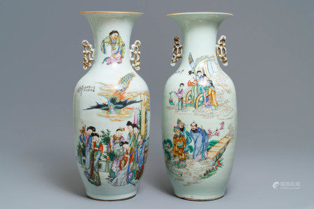 Two Chinese famille rose vases with figural design, 19/20th C.