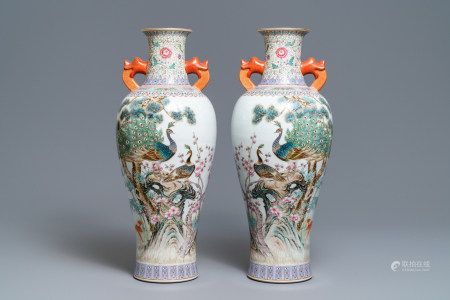 A pair of Chinese famille rose 'peacock' vases, Qianlong mark, Republic, 20th C.