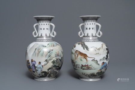 Two fine Chinese ruyi-handled vases, 2nd half 20th C.