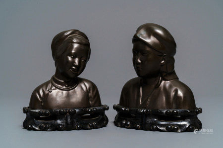 A pair of Chinese bronze 'Cultural Revolution' busts, 3rd quarter of the 20th C.