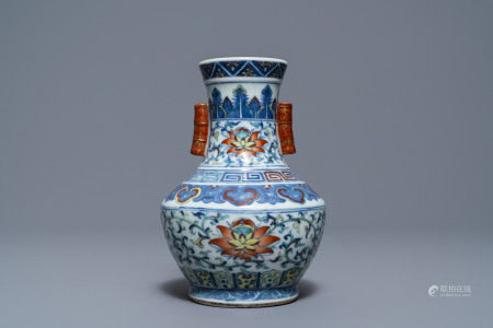 A Chinese doucai 'hu' vase, Qianlong mark, 19/20th C.